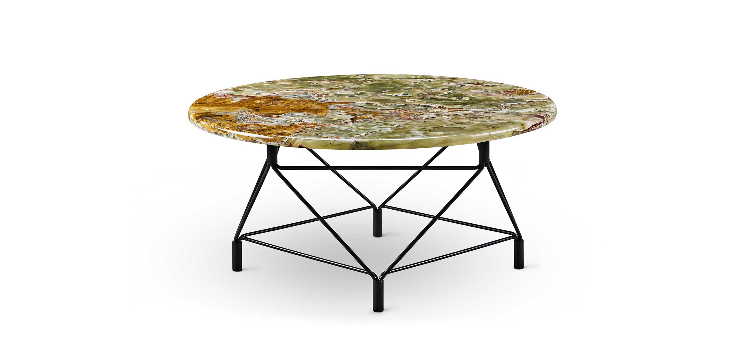 Spider table with Onyx marble plate Ø80 cm and black frame 325415.jpg